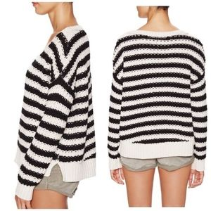 Free People At The Beach Striped Chunky Sweater-XS